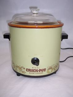 Vintage Rival Crock Pot Cooker Crockpot  Avocado Green Slow Cooker #Rival