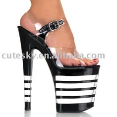Black Striped Platform Stiletto Heel Womens Sandals with Buckle