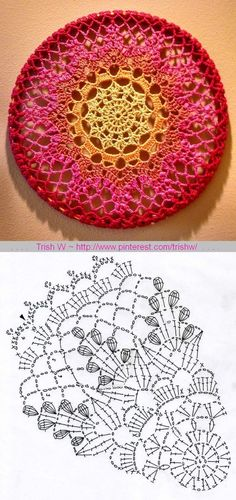 51 Ideas Crochet Granny Square Circle Pattern For 2019 Crochet Doily Diagram, Crochet Coaster Pattern, Crochet Mandala Pattern, Crochet Circles, Granny Square Crochet Pattern, Crochet Stitches Patterns, Doily Patterns, Crochet Chart, Thread Crochet