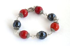 Black and red marble bracelet by TheBeadedCatsEye