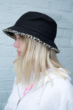 da9e2805 Black and Leopard Print Bucket Hat - Hats & Caps - Accessories