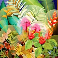 Tropical Flower Print Fabric Garden Ruth Daniels