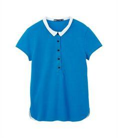 Polo femme en jersey de coton piqué mercerisé bleu Jewel - Petit Bateau