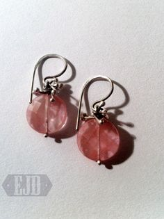 Items similar to Cherry Quartz Disc Earrings. Twisted Flexible Curvy Loop Bauble 925 Sterling Silver Pink Strawberry Flat Facet Bead Dangle Genuine Original on Etsy Jewelry Accessories, Jewelry Design, Unique Jewelry, Ring Necklace, Anklets, Cherry, Quartz, Drop Earrings, Personalized Items