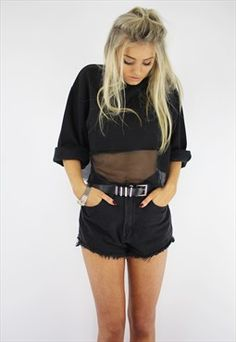 Mesh crop sweater top