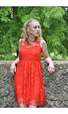 Red Lace Backless skater Dress
