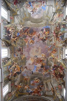 [Baroque] Trompe l'oeil ceiling fresco by Andrea Pozzo. The ceiling is completely flat, including the dome. This masterpiece is the nave ceiling of the Church of Sant'Ignazio in Rome. Baroque Painting, Baroque Art, Italian Baroque, Art Et Architecture, Renaissance Kunst, Classical Art, Christian Art, Religious Art, Religious Paintings