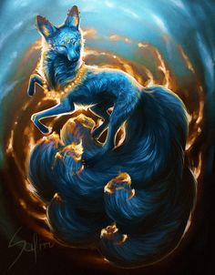 Aura~female~shy,kind,sly, smart,and quick~power: can summon fire~no mate or pups but would love a family