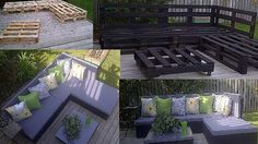 pallet furniture for patio stained dark | Black colors pallet furniture ideas