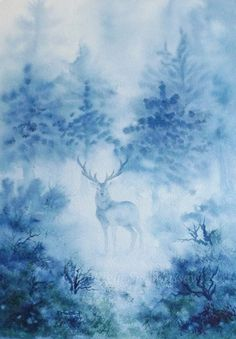 fantasy stag water colors - Google Search
