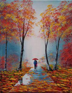 Romantic painting couple under umbrella autumn landscape handmade oil painting for home Romantic Paintings Couple, Art Prints, Original Paintings, Art Painting, Art Drawings, Abstract Painting, Beautiful Paintings, Art, Romantic Paintings