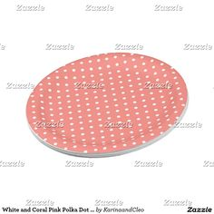 White and Coral Pink Polka Dot Pattern
