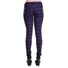 Banned Plaid Super Skinny Jeans (Purple)