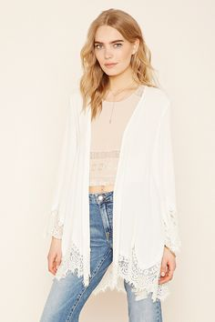 Forever 21 Contemporary - A crepe woven open-front cardigan with a longline silhouette, long sleeves, and eyelash lace along the trim.