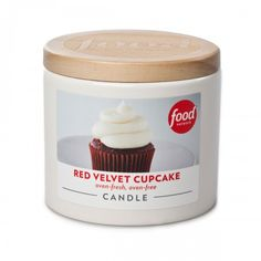 Red Velvet Cupcake Candle, available at the Food Network Store. All jars are food safe, reusable containers. Great dish for baking and serving individual desserts or side dishes (without the lid and labels, it's oven safe up to 375°F ), or use it as a salt cellar.