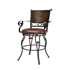 Powell Aberdeen Stamped Back Big and Tall Barstool with Arms - Free Shipping Today - Overstock.com - 16515378 - Mobile