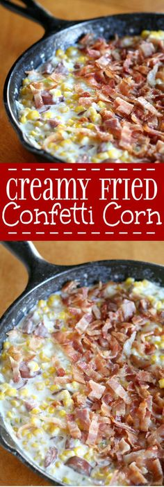 Creamy Fried Confetti Corn Recipe - an easy, creamy side dishes recipe with lots of vegetables, including corn and peppers. And even BACON and sausage! I love making this side dish for Thanksgiving! Corn Recipes, Side Dish Recipes, Vegetable Recipes, Veggie Dishes, Food Dishes, Main Dishes, Confetti Corn Recipe, Thanksgiving Side Dishes, Vegetable Side Dishes