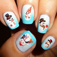 Wendy's Delights: Party Snowman Nail Water Decals from Sparkly Nails Cute Christmas Nails, Christmas Nail Designs, Christmas Snowman, Winter Christmas, Snowman Nails, New Years Nail Art, Nail Water Decals, Sparkly Nails, New Year's Nails