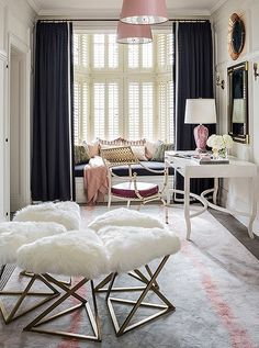 Elegant and feminine dressing room, decked out in soft textures and soft pastels, designed by Massucco Warner Miller of Decorist, and photographed by Grey Crawford.