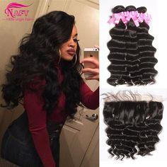 Malaysian Virgin Hair With Closure Loose Deep Wave With Frontal Closure Grace Hair Company Full 13x4 Lace Frontal With Bundles