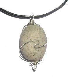 Polymer Clay wire wrapped Pebble Pendant - necklace - polymer clay stone no 4 | Craft Juice