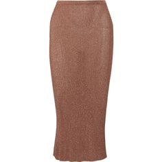 Tibi Metallic ribbed-knit midi skirt (26.850 RUB) ❤ liked on Polyvore featuring skirts, metallic, tibi skirt, elastic waist skirt, brown midi skirt, tibi and ribbed knit skirt