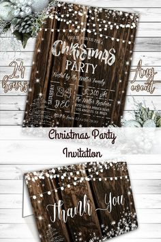 I like these, rustic and classy. Christmas Invitation, Christmas Party Invitation, Rustic Christmas Invitation, Rustic Winter Invitation, Holiday Party Invitation, Printable