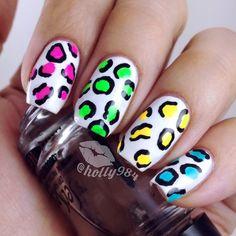 Neon Cheetah Mix Nails