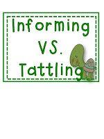 Classroom Freebies Too: Informing vs. Tattling