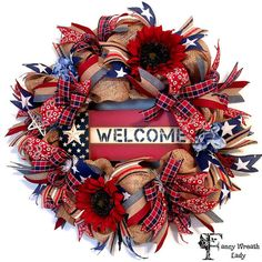 1 Available and Ready to Ship Today...Patriotic Burlap Mesh Wreath 4th of July Wreath by FancyWreathLady. Follow us on Pinterest to be the first to see new products & sales. Check out our products now: www.etsy.com/shop/fancywreathlady #etsy #etsyseller #etsyshop #etsylove #etsyfinds #etsygifts #photoofthedays #loveit #instacool #shopping #onlineshopping #instashop #musthave #instagood #photooftheday #picoftheday #love #OTstores #smallbiz #instafollow