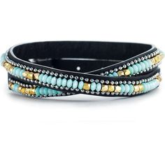Stella & Dot Sierra Double Wrap Bracelet ($59) ❤ liked on Polyvore featuring jewelry, bracelets, leather bangle, beaded wrap bracelet, bead jewellery, beading jewelry and leather jewelry