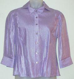 SAMUEL DONG Top sz XL Lilac Purple Shimmer Satin Evening Blouse Shirt…