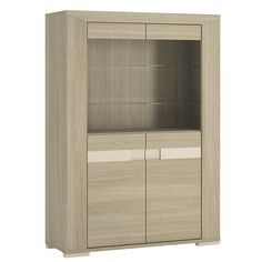 Madras Glazed 4 Door Display Cabinet In Champagne Melamine