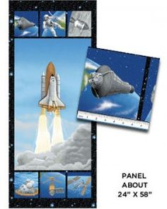 Incredible photography and state-of-the-art printing makes this 'I want my Space' Lift off quilt panel truly out of this world! These 24″ x 58″ panels are a space lover's dream come true, with realistic rockets, satellites and stars.  With these breath taking views it's hard to believe it's fabric. Purchase these panels online from Country Dawn.