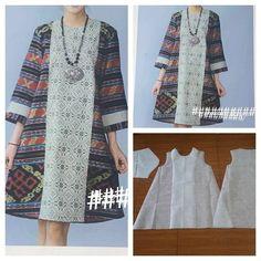 Sewing Blouse Pattern Tunics Tutorials New Ideas Batik Fashion, Hijab Fashion, Diy Fashion, Blouse Batik, Batik Dress, Blouse Patterns, Clothing Patterns, Tunic Tutorial, Sewing Blouses