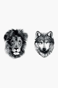 Tatoos - wolf lion tattoo - Black - Dcer