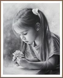 Drawing Portraits - Drawing little girl with a flower by dry brush Igor Kazarin Discover The Secrets Of Drawing Realistic Pencil Portraits.Let Me Show You How You Too Can Draw Realistic Pencil Portraits With My Truly Step-by-Step Guide. Portrait Au Crayon, Pencil Portrait Drawing, Realistic Pencil Drawings, Portrait Sketches, Pencil Art Drawings, Drawing Sketches, Portrait Art, Drawing Portraits, Charcoal Drawings
