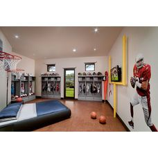 awesome sports room- field goal in basement