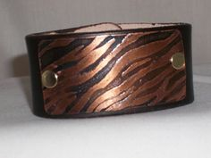 Large Leather Cuff with Etched Copper Tiger Stripes by mimi1214