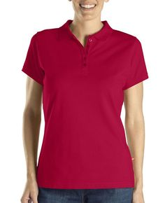 97449e850d The Dickies Women s Solid Piqué Polo Shirt is made of moisture-wicking  cotton and features a placket.