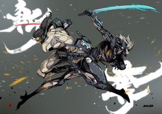 Raiden VS Sam by the-hary on DeviantArt Fantasy Characters, Anime Characters, Samurai Poses, Raiden Metal Gear, Metal Gear Solid Series, Cry Anime, Character Art, Character Design, Metal Gear Rising