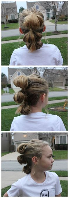 This fun hairstyle is inspired by Rey from Star Wars the Force Awakens.