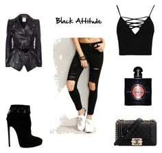 """Black attitude"" by evecrush on Polyvore featuring mode, Alexander McQueen, Alaïa, Boohoo, Chanel et Yves Saint Laurent"