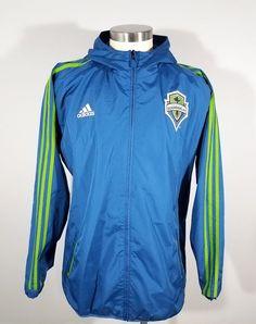 ADIDAS Men's Seattle Sounders FC Full Zip Hooded Windbreaker Jacket XBOX Soccer #Adidas #Windbreaker #SeattleSoundersFC
