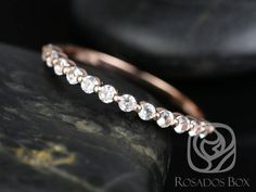 Petite Naomi/Petite Bubble & Breathe Rose Gold Diamond Dainty Single Prong Floating ALMOST Eternity Band Ring,Rosados Box Forever One Moissanite, Gold Price, White Sapphire, Eternity Bands, Wedding Bands, Wedding Stuff, Diamond Cuts, White Gold, Rose Gold