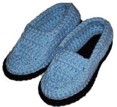Free pattern to make a pair of crocheted moccasin slippers with directions for adjusting the pattern to different slipper sizes.
