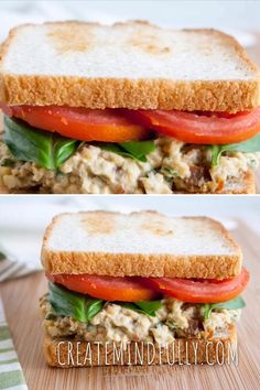 Sun-Dried Tomato and Basil Chickpea Salad Sandwich (vegan, gluten free) - This savory chickpea salad is an easy meal. If you like hummus, you'll love this! Salad Recipes videos Sun-Dried Tomato and Basil Chickpea Salad Sandwich Sandwich Vegan, Salat Sandwich, Chickpea Salad Sandwich, Sandwich Sauces, Hummus Salad, Hummus Sandwich, Fish Sandwich, Sandwich Spread, Sandwich Shops