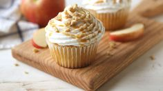 Have your apple pie and eat your cupcake too! These apple pie-stuffed cupcakes are adorable, taste delicious and are bound to become one of your new go-to fall desserts.