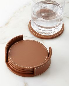 Wyatt Leather Coasters, Set of 4 by Ralph Lauren Home at Neiman Marcus Leather Diy Crafts, Leather Gifts, Leather Projects, Leather Crafting, Bar Accessories, Leather Accessories, Accessories Online, Leather Coasters, Laura Lee