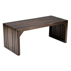 Slat Bench/Table (235 CAD) ❤ liked on Polyvore featuring home, furniture, tables, accent tables, home decorators collection, dark brown furniture, chocolate basket, dark brown coffee table and brown coffee table